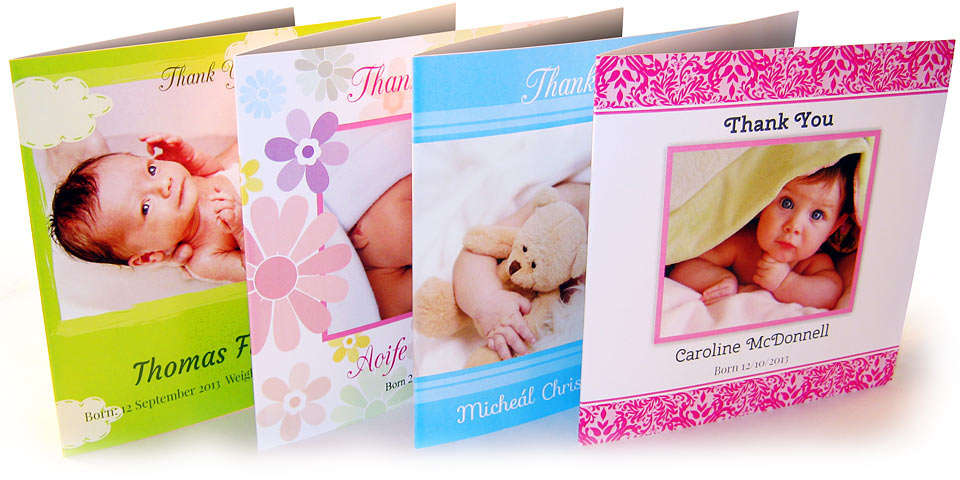 4 different baby thank you cards